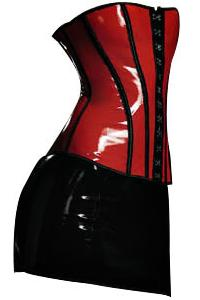 Sexy Vixon PVC Corset Bustier w/ Skirt & G-String � Black & Red